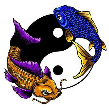 Yin yang symbol of harmony and balance with koi fish.