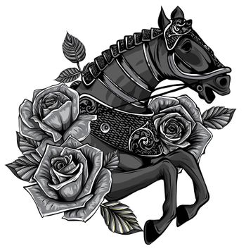 Horse with flowers in the mane on white background vector illustration