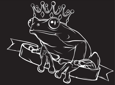 Frog Prince with Crown in black background