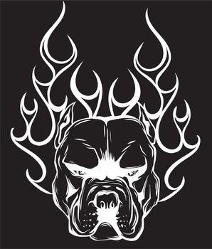Bull Dog Flame Tattoo in black background