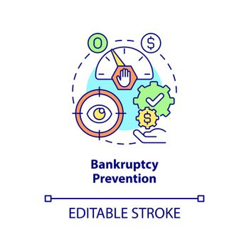 Bankruptcy prevention concept icon