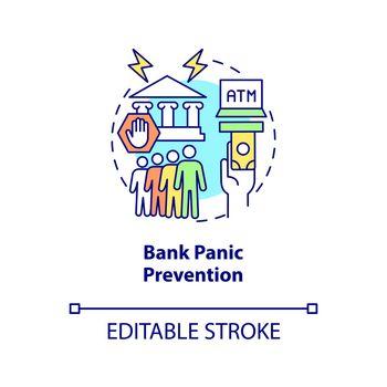 Bank panic prevention concept icon
