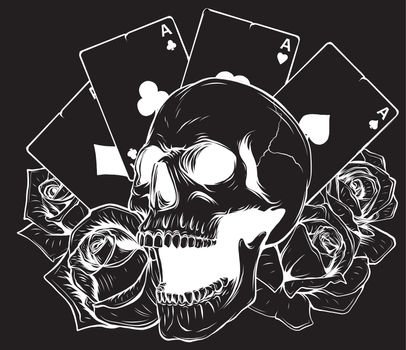 Aces and Skull in black background