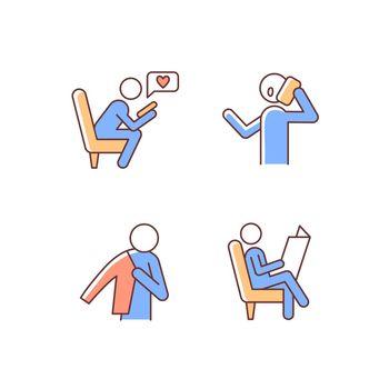 Everyday life RGB color icons set