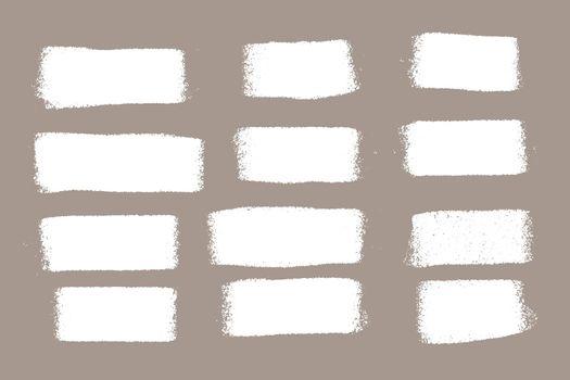 white grunge paint roller smear set