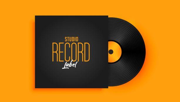 realistic music record label disk mockup