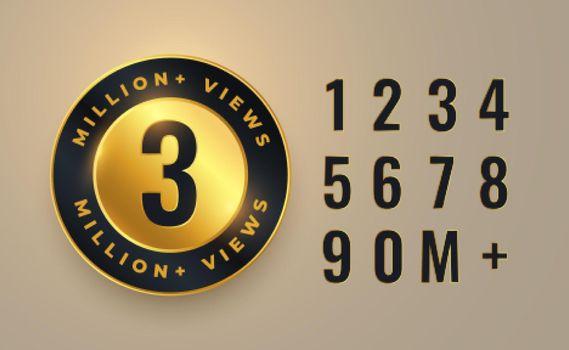 3 million video views count label design