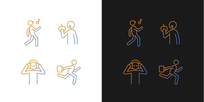 Everyday activities gradient icons set for dark and light mode