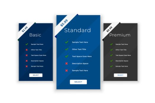 pricing purchase comparison table template