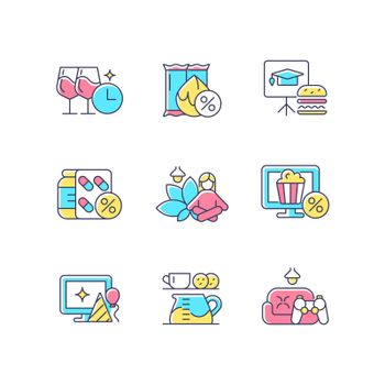 Employee benefits for wellbeing RGB color icons set