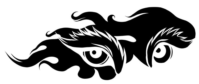 beast eyes black silhouette logo icon vector illustration design