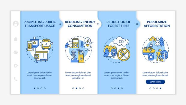 Sustainability initiatives onboarding vector template