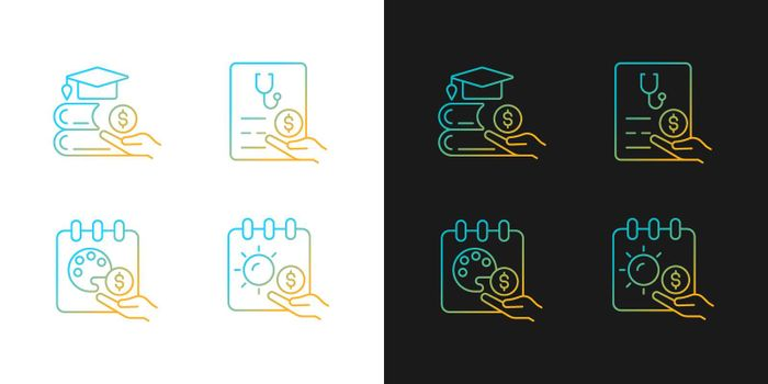 Workplace wellbeing benefits gradient icons set for dark and light mode