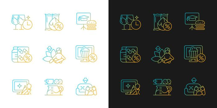 Employee benefits for wellbeing gradient icons set for dark and light mode