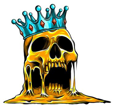 Crowned king skull symbol of spooky human cranium with royal gold crown.