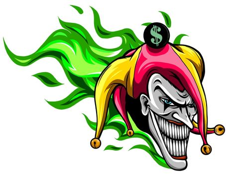 Crazy creepy joker face. Angry clown with evil smile on the face. I