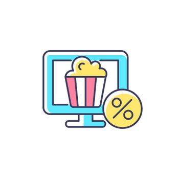 Discounts for online cinema subscription RGB color icon