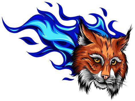 Lynx animal face. Vector Eurasian lynx cat head portrait.