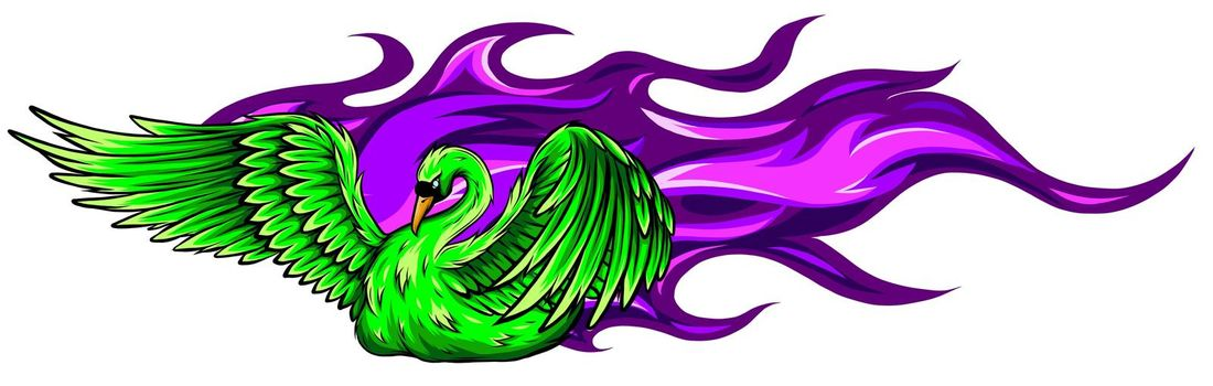Watercolor swan. Hand painted vector illustration design