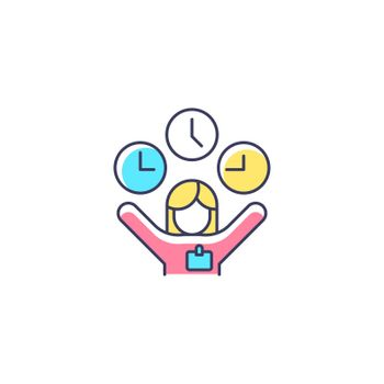 Flexible hours RGB color icon