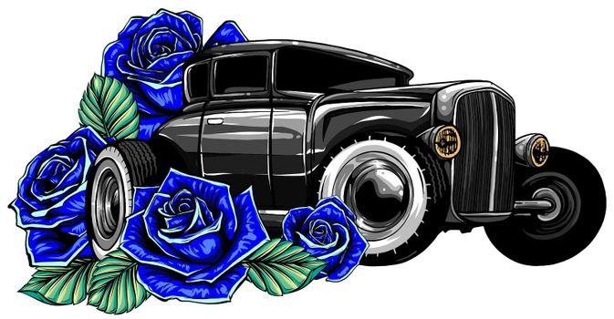 Retro vintage vector 60s, 50s automobile. Old school car with hand drawn frame and decorative roses in classic style. Old Border on background.