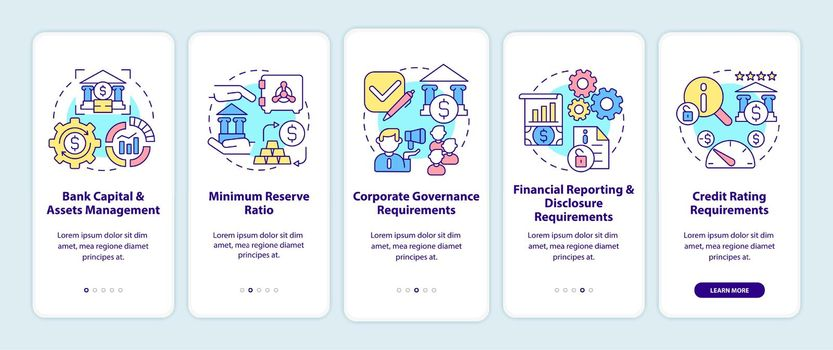 Bank regulation requirements onboarding mobile app page screen