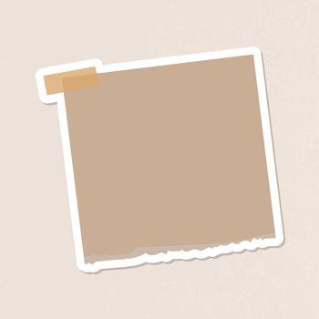 Brown notepaper journal sticker vector