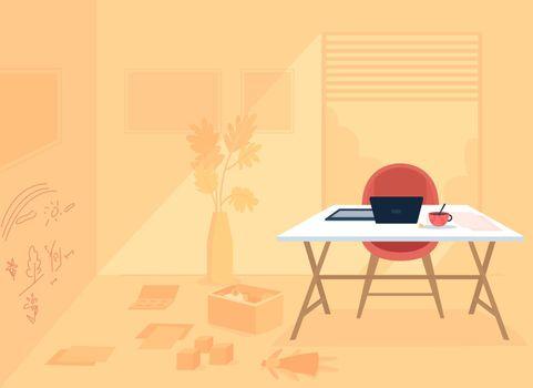 Remote working parent room flat color vector illustration