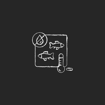 Freeze drying fish chalk white icon on dark background