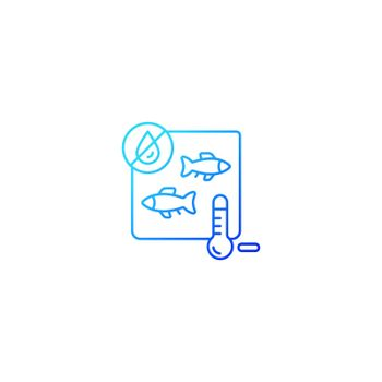 Freeze drying fish gradient linear vector icon