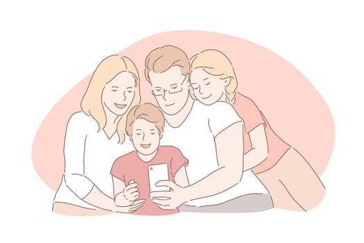 Family bonding, happy childhood, parenthood concept