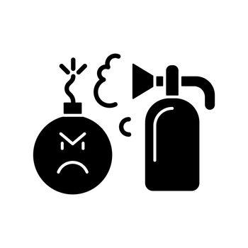 Extinguishing emotions black glyph icon