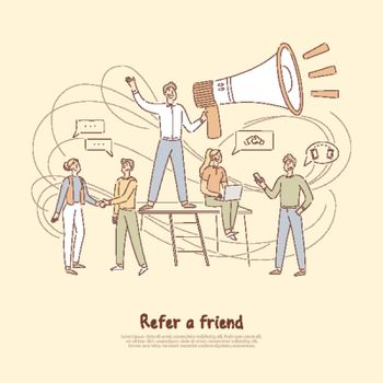 Referrals program, businessman holding huge megaphone, marketing network, refer a friend banner