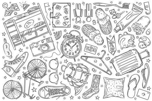 Hand drawn hostel set doodle vector background