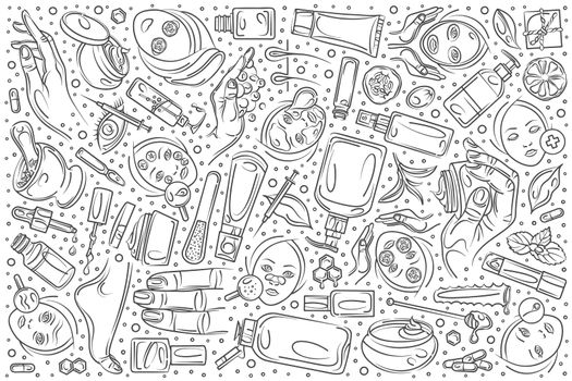 Hand drawn cosmetology set doodle vector background