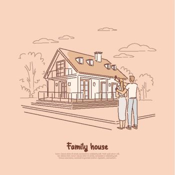 Young couple planning for dream home, family buying first living space together, standing in front of future estate banner