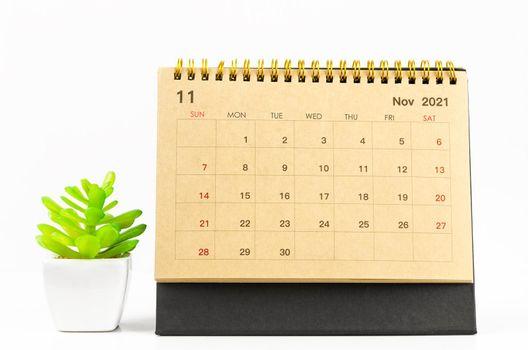 November 2021 desk calendar.