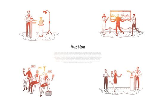 Auction - people selling and buying artworks during auction vector concept set