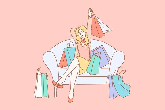 Happy shopaholic with purchases, consumerism concept