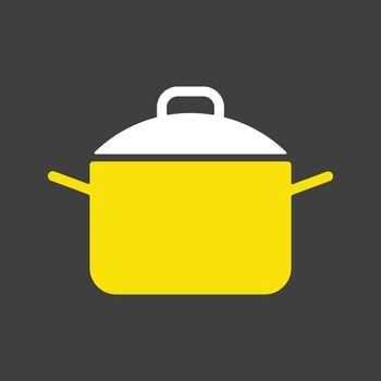Saucepan glyph icon. Cooking pot or pan sign