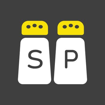 Salt and pepper condiment shakers vector icon