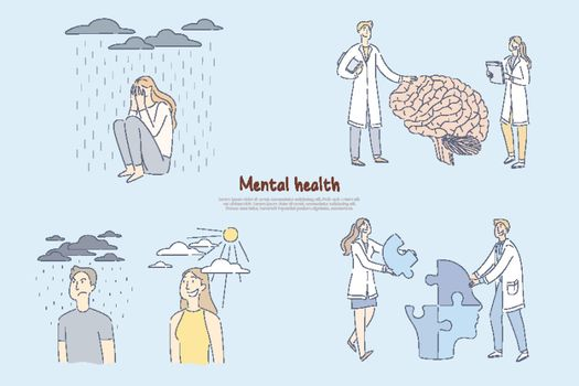 Mental health problem, scientists, researchers study human brain functioning, psychology of personality banner