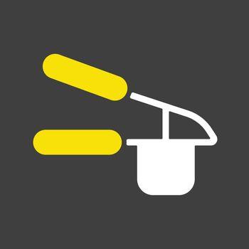 Garlic press vector icon. Kitchen appliance
