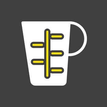 Measuring cup, beaker icon. Kitchen appliance
