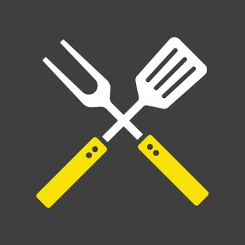 Big fork and spatula icon. Kitchen appliance