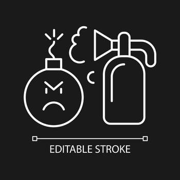 Extinguishing emotions white linear icon for dark theme