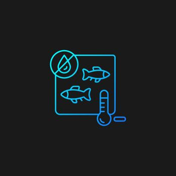 Freeze drying fish gradient vector icon for dark theme