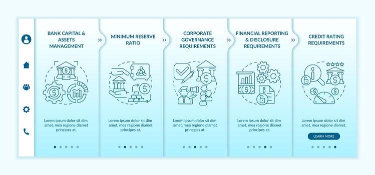 Bank regulation terms onboarding vector template