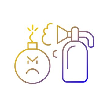 Extinguishing emotions gradient linear vector icon