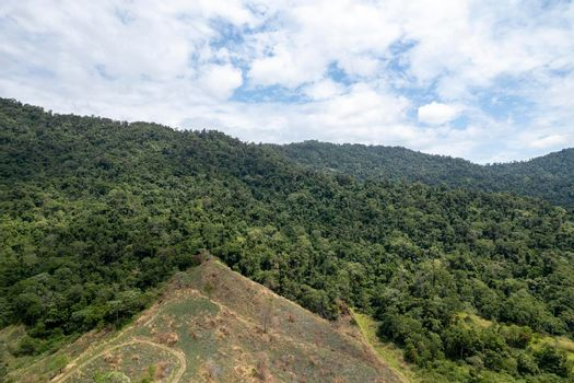 Barren Mountainside And Green Field Landscape
